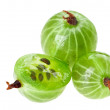 Whole and cross-section of gooseberry fruit isolated on white, m - Stock Photo