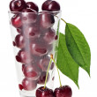 Royalty-Free Stock Photo: Red fresh wet cherry fruits in transparent glass, isolated on wh