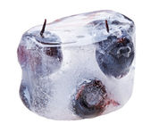 Bilberries (whortleberries) inside of melting ice cube, isolated — Foto Stock