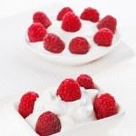 Постер, плакат: Still life with raspberry sour cream dessert on white linen tabl