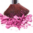 Makeup brush with purple crushed eye shadow, isolated on white m — Stock Photo