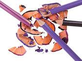 Broken eye shadow pencils splinters (scobs), isolated on white m — Stock Photo