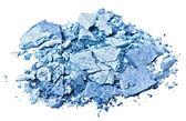Broken blue eye shadow, isolated on white macro — Stockfoto