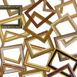Set of gold picture frames - Stock Photo