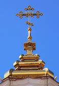 Cross on a dome of orthodox Christian church — Stock Photo