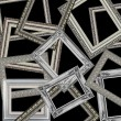 Set of silver picture frames — Stock Photo