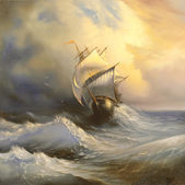 Ancient sailing vessel in stormy sea — Stock Photo
