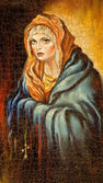 The Madonna drawn by me by oil on canvas — Stock Photo