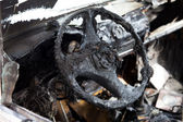Fire burnt car vehicle — Stock Photo