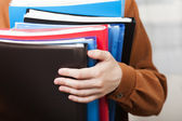 Business paper files in hand — Stock Photo