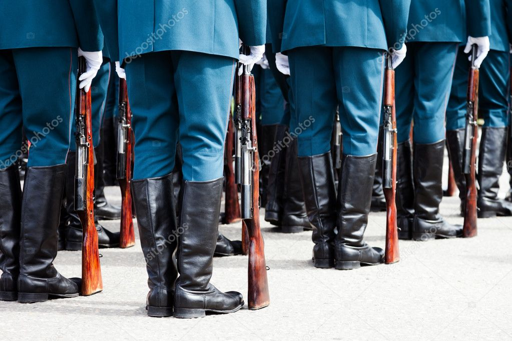 Army parade - military force uniform soldier boot row — Stock Photo #5666960