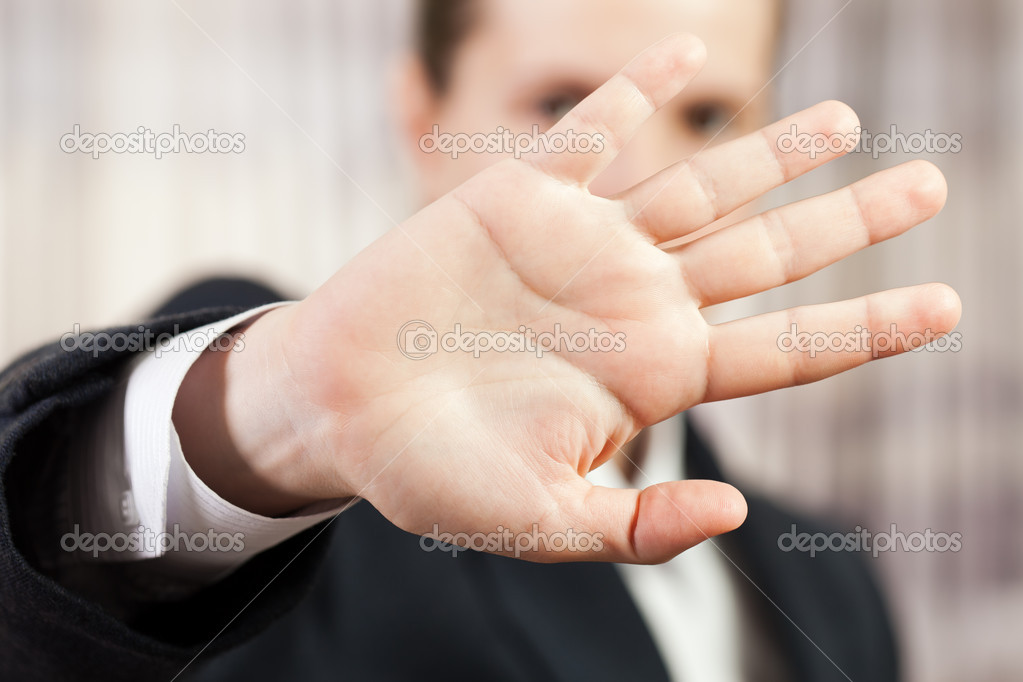 Shy business men hand gesture hide face stop sign — Stock Photo #5706784