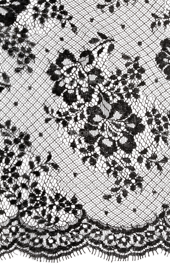 Black floral ornament Lace background on white — Stock Photo #5693191