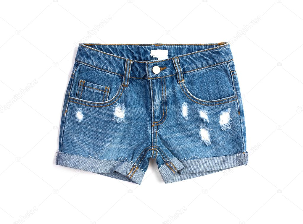 Dlue denim summer  shorts isolated on white  Stock Photo #5705109
