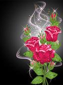 Roses, smoke and stars — Stock Vector