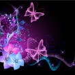 Royalty-Free Stock Imagen vectorial: Background with flowers, smoke and butterfly
