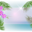 Palms, flowers, sun - Stock Vector