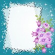 Floral background with stars and a place for text or photo - Stock Vector