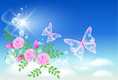 Sky, roses, and butterfly. — Stock Vector