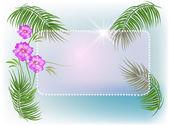 棕榈树、 花、 太阳 — 图库矢量图片