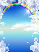 彩虹和白色的花朵 — 图库照片
