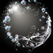 Background with sphere, silver flowers, stars and bubbles — Stock Vector