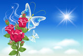 Céu, rosas e borboleta. — Vetorial Stock