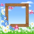 Wooden photo frames with flowers and butterfly — Stock Vector