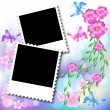 Design photo frames with flowers and butterfly — Stock Vector