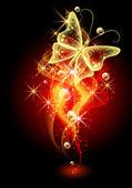 Bakgrund med rök och fjäril — Stockvektor
