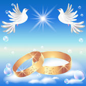 Card with wedding ring and dove — Stock Vector