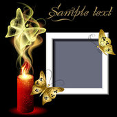 Page layout photo frame with burning candle and butterflies — Stock Vector