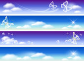 Set of banners for website with sky panorama — Vector de stock