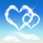 Cloud hearts and sunshine — Stock Vector