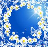 Blommor och bubblor i grunge ram — Stockvektor
