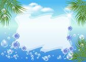 Zeegezicht met palm takken, bubbels en bloemen — Stockvector