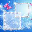 Design photo frames with bubbles and butterfly — Stock Vector