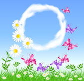 Daisies on the green grass, butterfly and clouds — Stock Vector