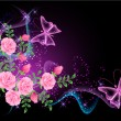 Background with flowers, smoke and butterfly — Image vectorielle