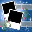 Stock Vector: Page layout photo album with flowers