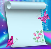 Magic background with paper scroll — Vector de stock