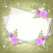 Floral background with stars and a place for text or photo - Stok Vektör