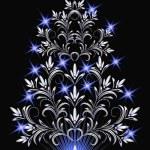 Christmas silver fur-tree — Stock Vector #6051044