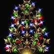 Vector de stock : Christmas golden fur-tree