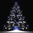 Stock vektor: Christmas silver fur-tree