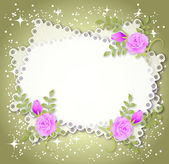 Floral background with stars and a place for text or photo — Stock Vector