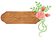 Background with wooden texture and flowers — Stock Vector