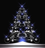 Christmas silver fur-tree — Stock Vector