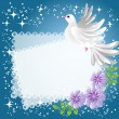 Background with dove and flowers — Stock Vector