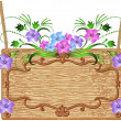 Wooden signboard with flowers - Image vectorielle